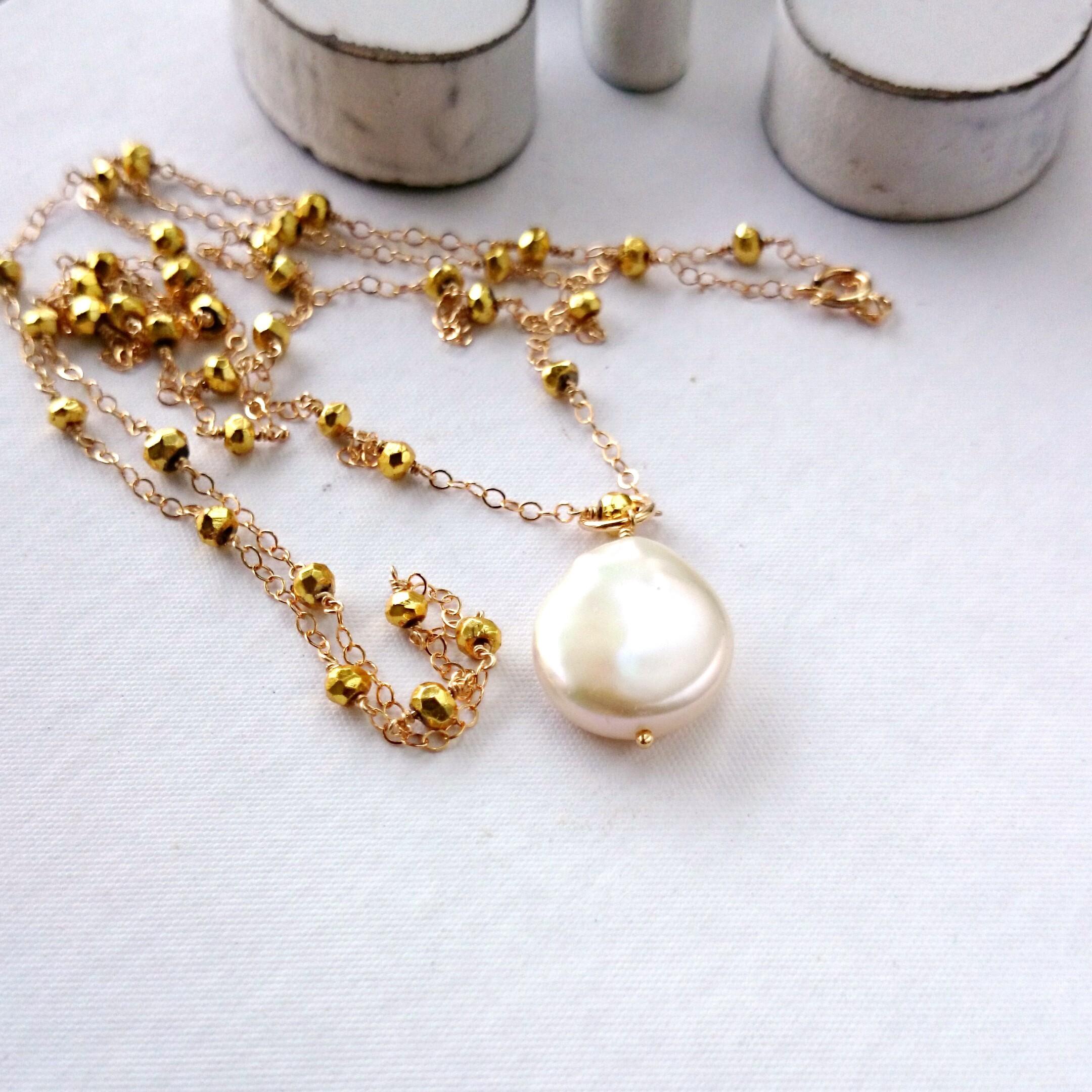 送料無料14kgf♡gold Pyrite station long necklace + TOP