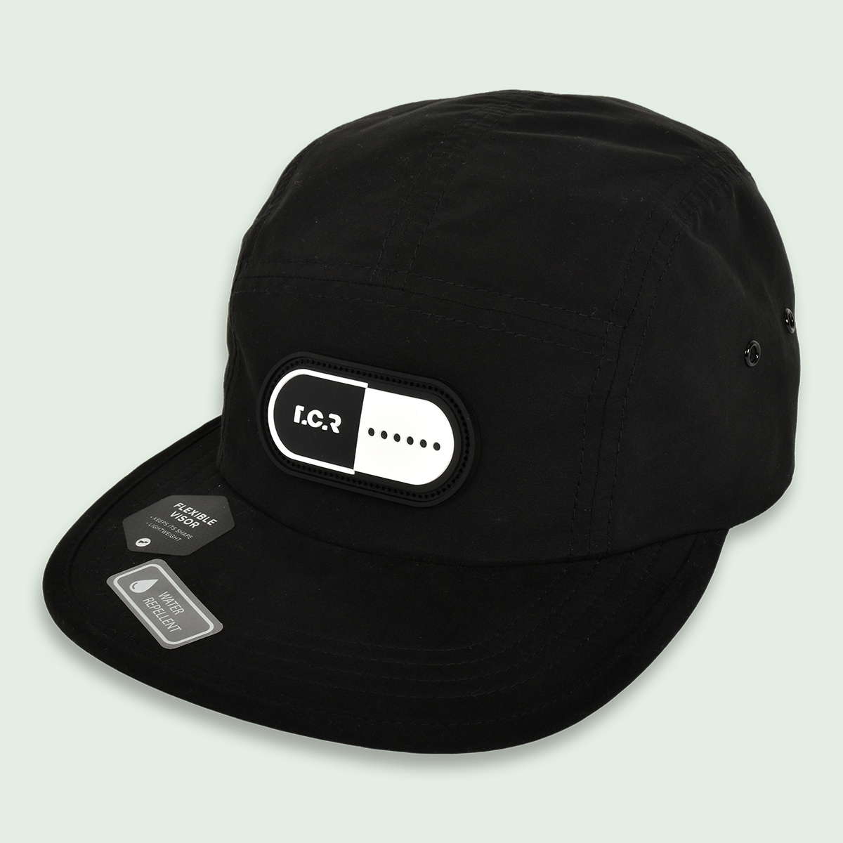 RUBBER CAPSULE WATER REPELLENT 5-PANEL CAP - BLACK