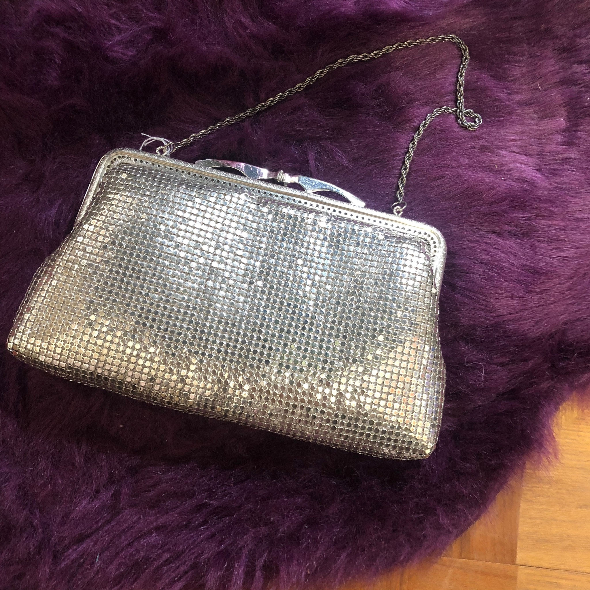 spangled silver handbag