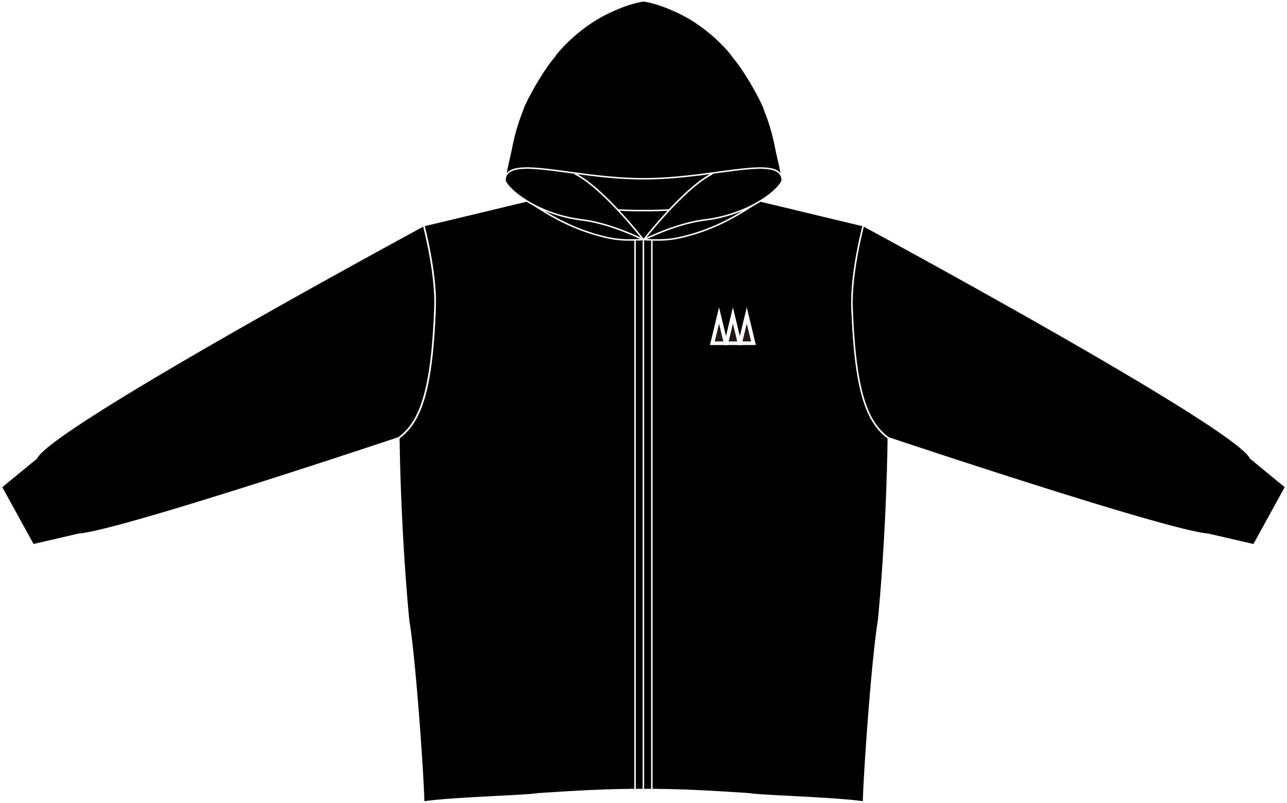 CRML ジップパーカー 黒×白