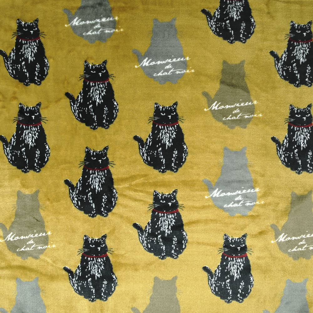 猫ブランケット(ムッシュくん)カーキ