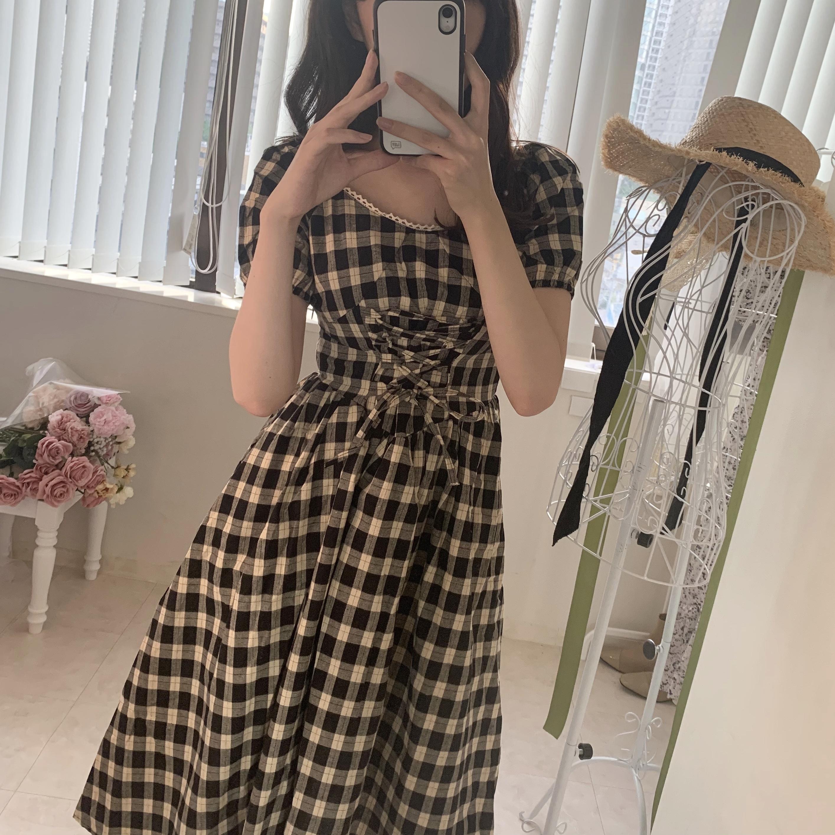 ギンガムロングドレス