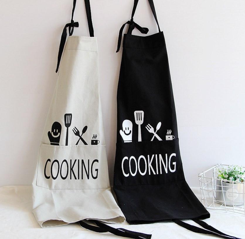 30%OFFc[A63]レディース シンプルプリント エプロン  カフェ キッチン サロン 作業用