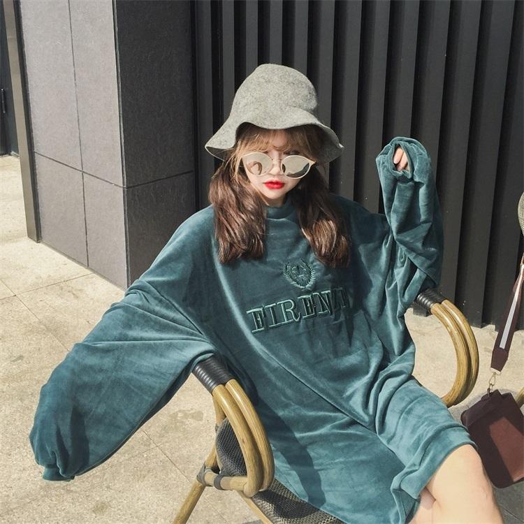 【即日発送】ベロア ロング丈 トレーナー トップス 2カラー pt427