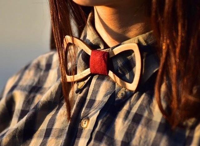 木製 蝶ネクタイ #Papillon red - 画像1