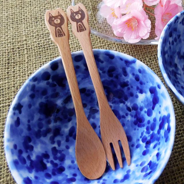 (218)  チャーピーキャット 木製 スプーン フォーク カトラリー 食器