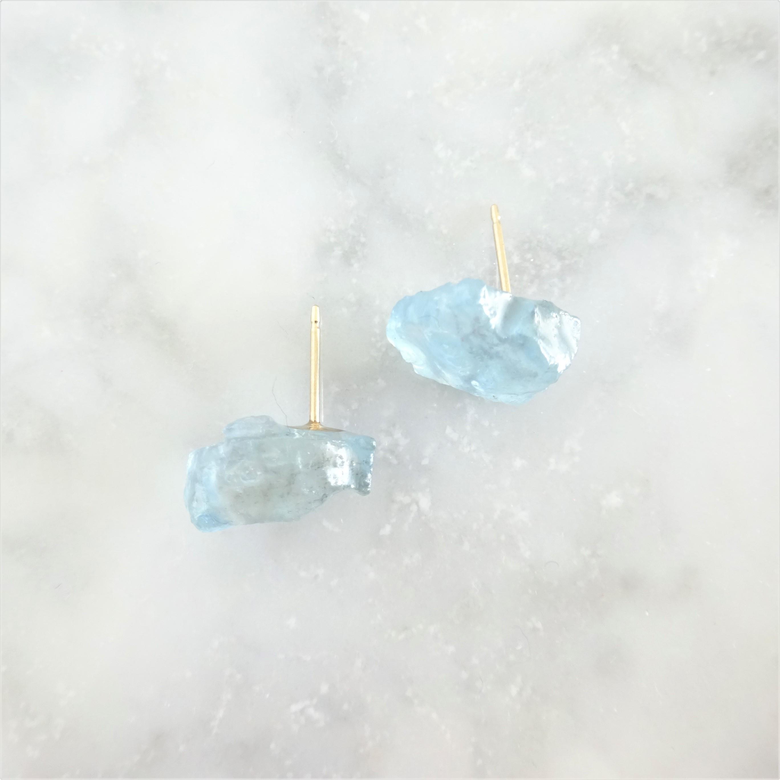 送料無料14kgf*Aquamarine stud pierced earring / earring