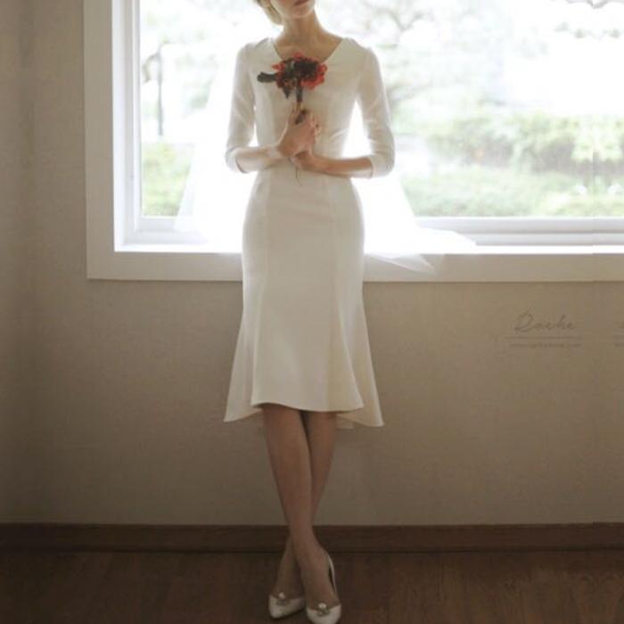 ホワイトドレス ウエディング フィッシュテール 七分袖