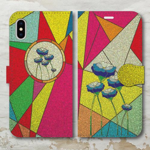 ステンドグラス調/ガラス調/カラフル/フラワー/レトロ調/花・青/iPhoneスマホケース(手帳型ケース)