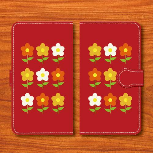昭和レトロ/花柄/昭和食器調/赤色/Androidスマホケース(手帳型ケース)