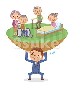 イラスト素材:高齢者を支えるビジネスマンのイメージ(ベクター・JPG)