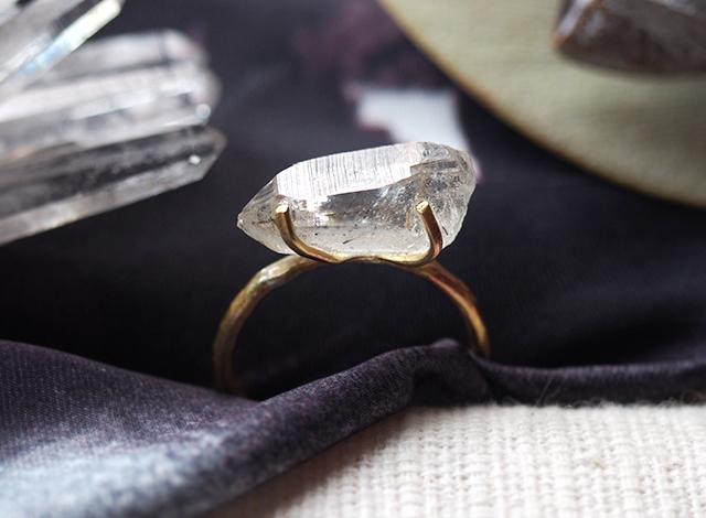 [一点物]原石のトルマライズクォーツのリング