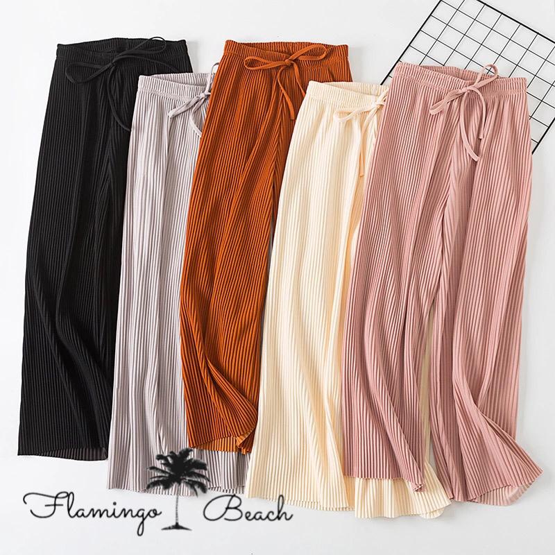 【FlamingoBeach】pleats chiffon pants