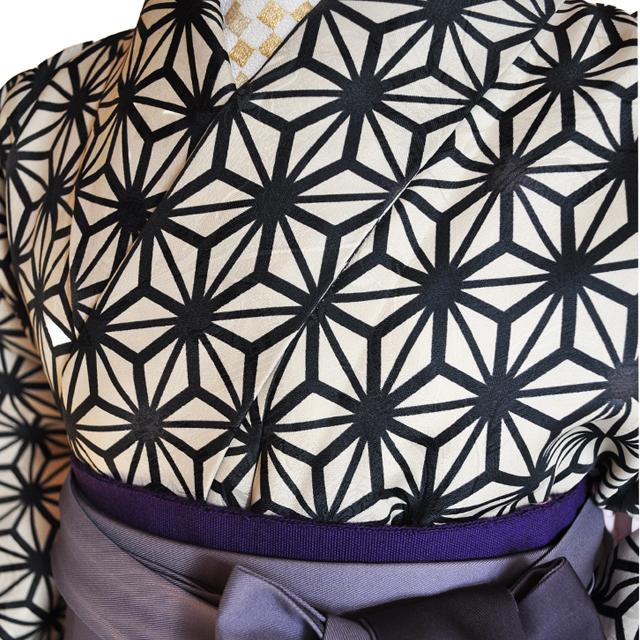 卒業式袴レンタル!紺色ぼかし袴&ベージュ地黒の麻の葉柄着物ladies'hakama3[往復送料無料] - 画像1