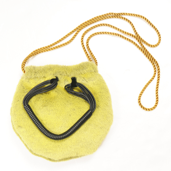 hs17AW-IR10 FUR LEATHER CORD BAG (yellow)