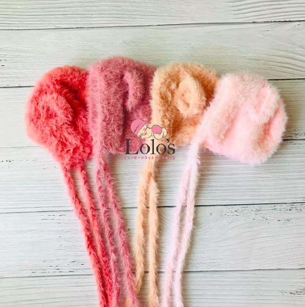 もこもこクマさん帽子/pinkシリーズ