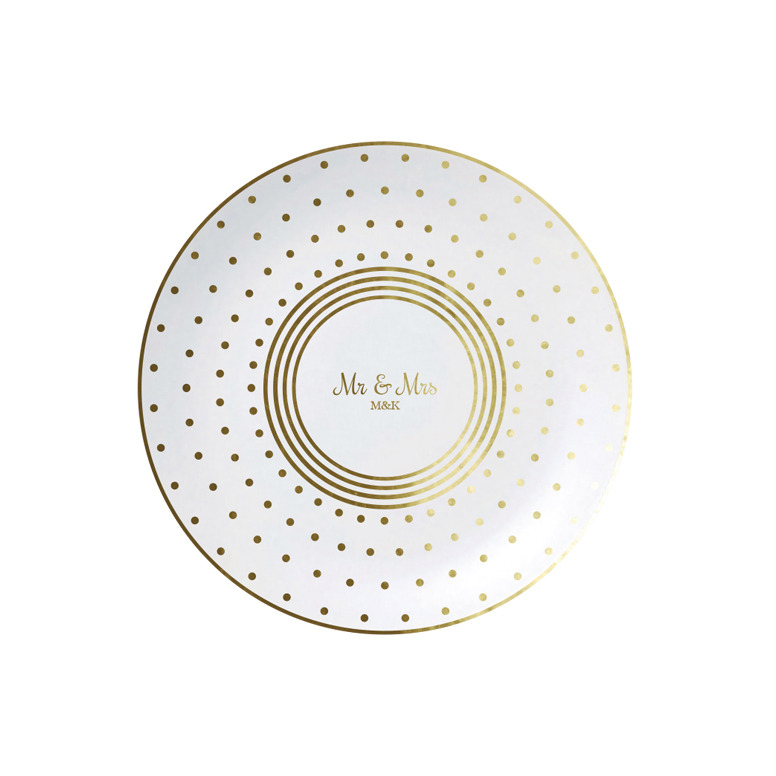 Mr and Mrs on Dots and Stripe Plate