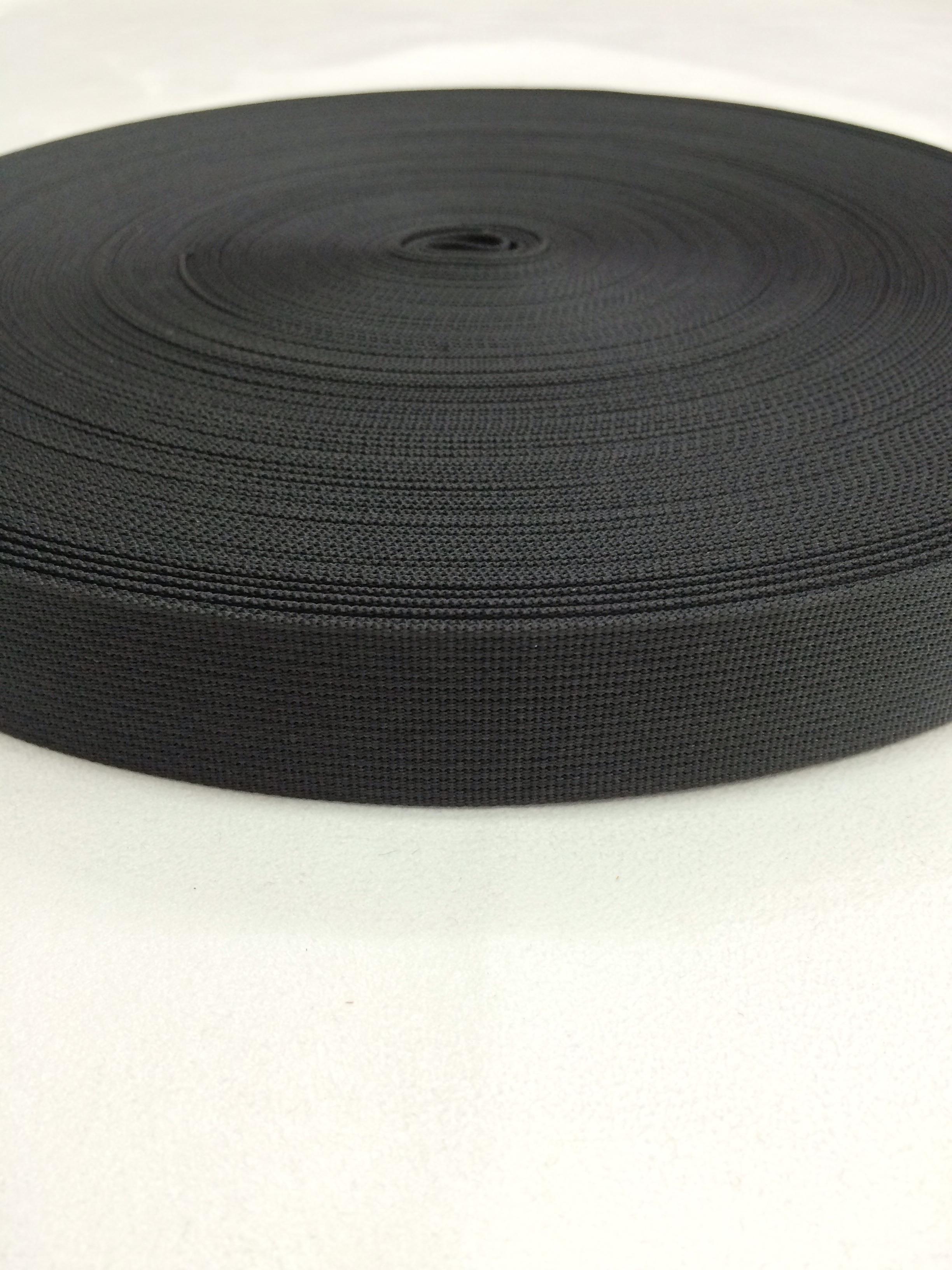 ナイロンテープ 高密度 25mm幅 1mm厚 黒 1m