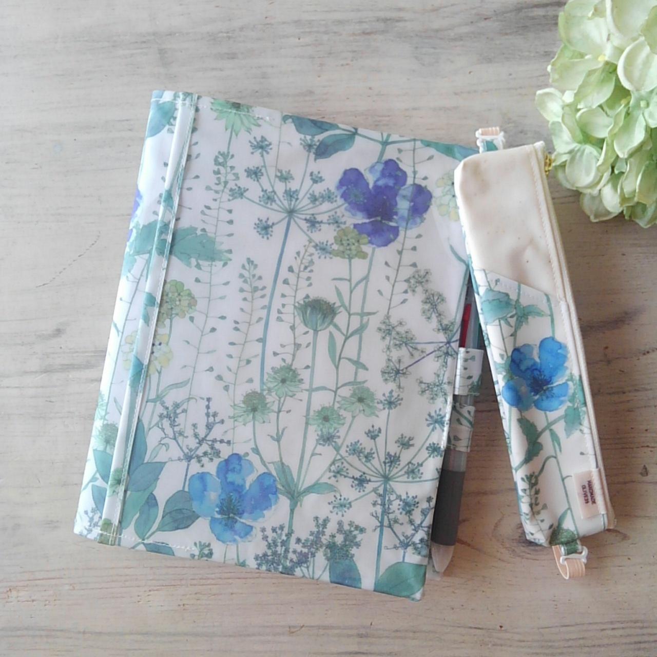 【完成品】イルマ ブルー&ライトブルー*リバティ手帳カバー・ぺンケースセット*ナカバヤシサイズ