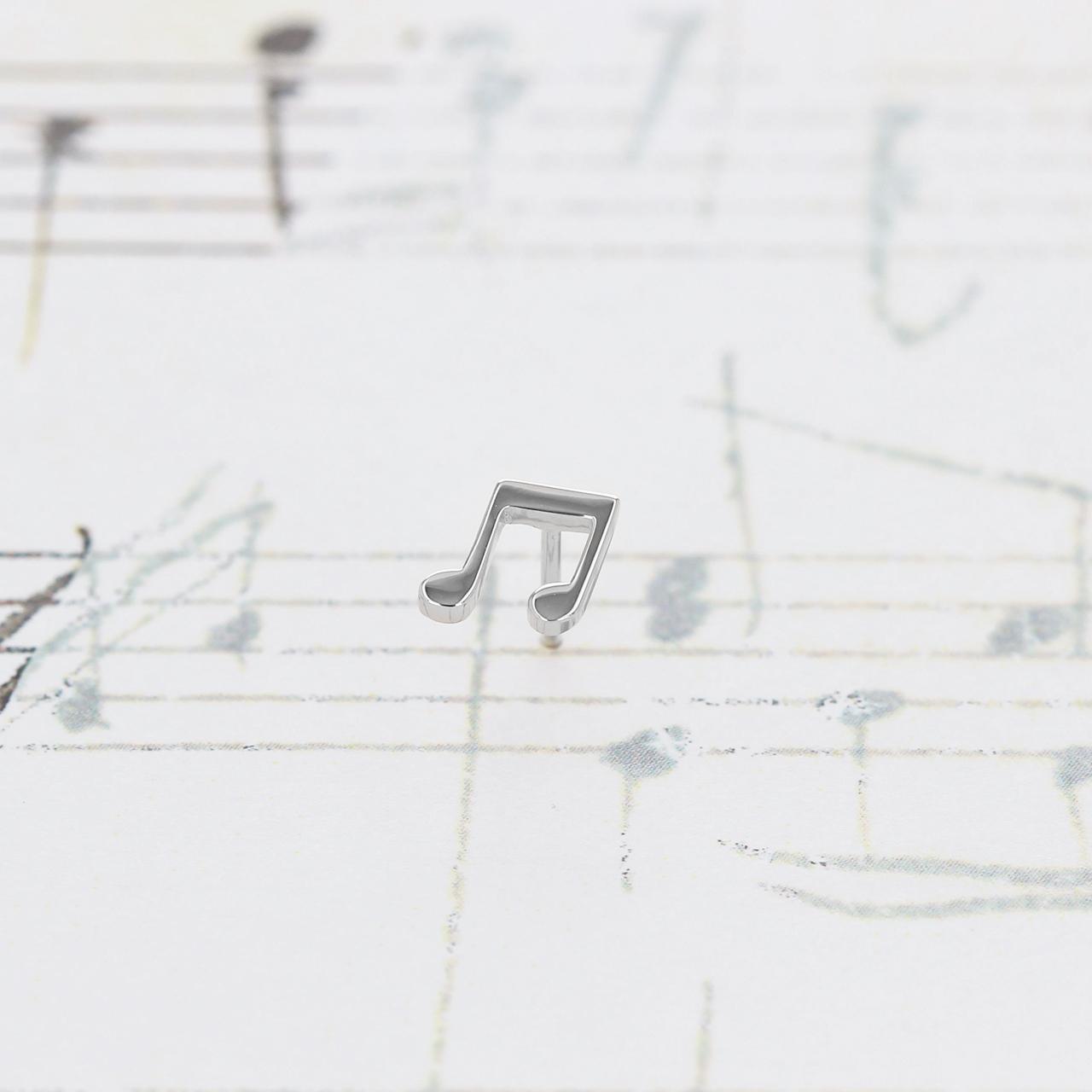 Silver / ピアス (片耳) / 連桁付き8分音符スタッドピアス