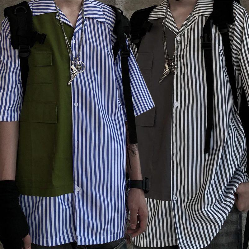 ユニセックス シャツ 半袖 メンズ レディース ストライプ柄 ポケット オーバーサイズ 大きいサイズ ルーズ ストリート