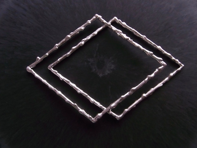 Melt/シルバーダブルバングル・ダイヤ形2本組(ナチュラルシルバー)*即納可