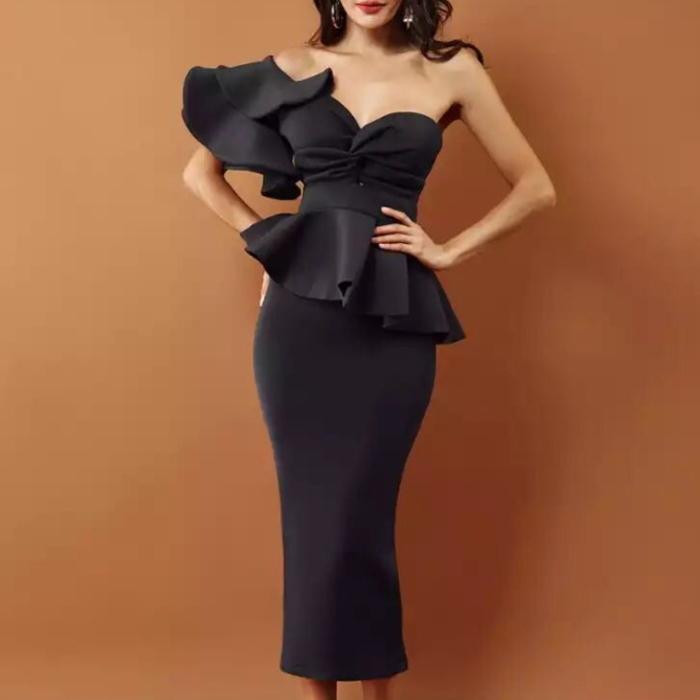 ワンショルダー ワイドフリル ペプラム タイト ツーピース ドレス