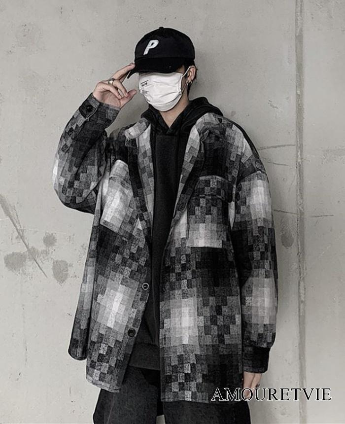 2019 秋 冬 レディース メンズ ユニセックス 新作 アウター ジャケット コート モザイク モノトーン 白黒 オルチャン 韓国ファッション  1045