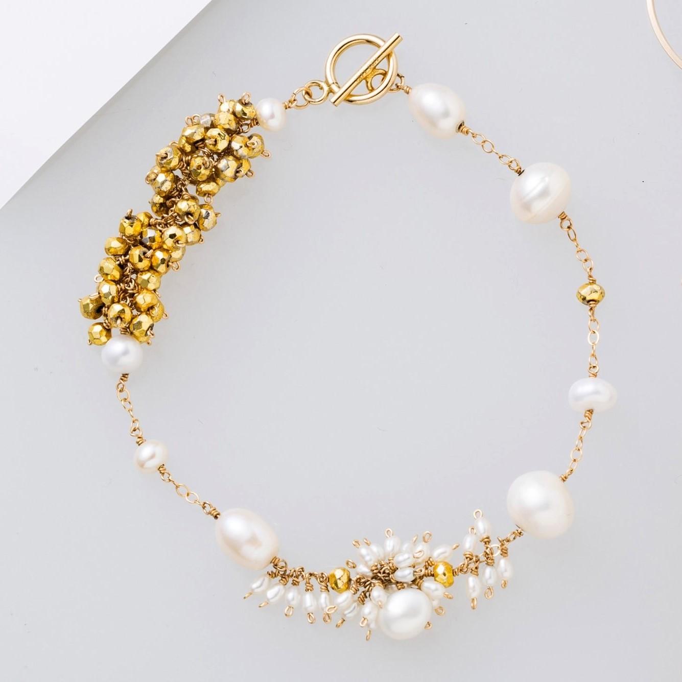 雑誌掲載[装苑]1月号 pearl × gold Pyrite lady station bracelet