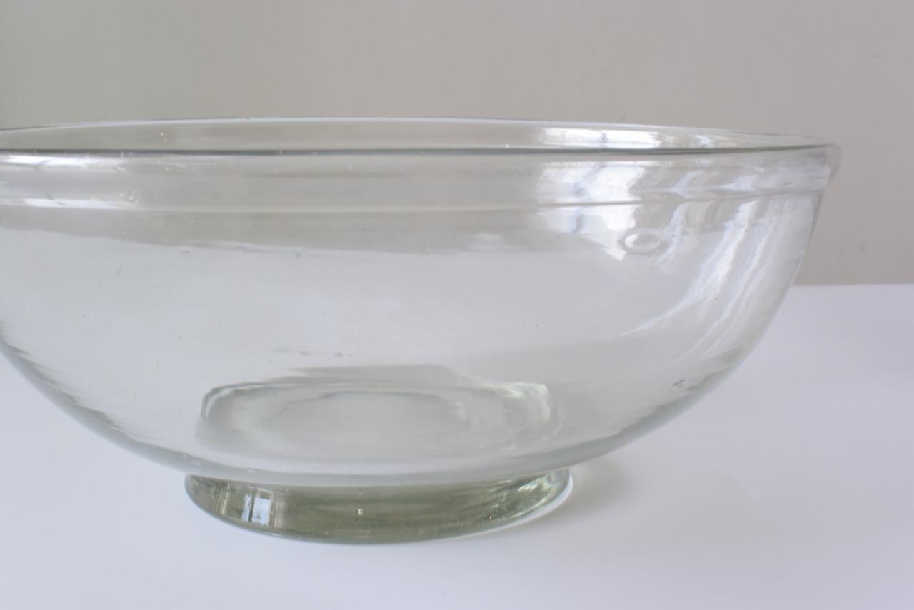 折り曲げ縁のガラスボウル 中サイズ