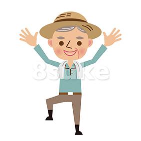 イラスト素材:バンザイをする年配の農夫(ベクター・JPG)