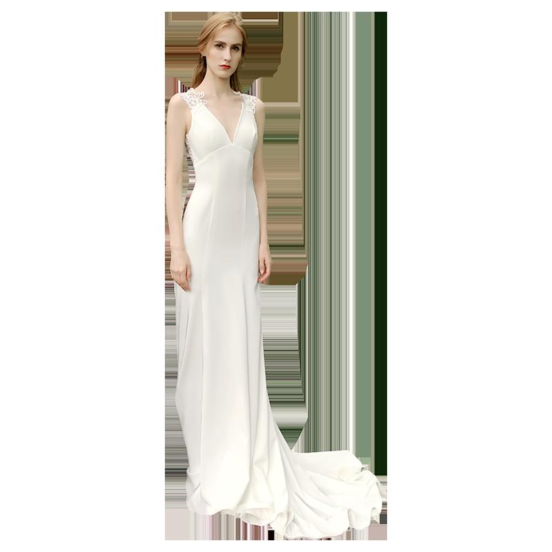 【DearWhite】ウェディングドレス Aライン プリンセス エンパイア デコルテ 結婚式 披露宴 二次会 パーティーウェディングドレス・カラードレス・サイズオーダー格安オーダーメイド DW00038