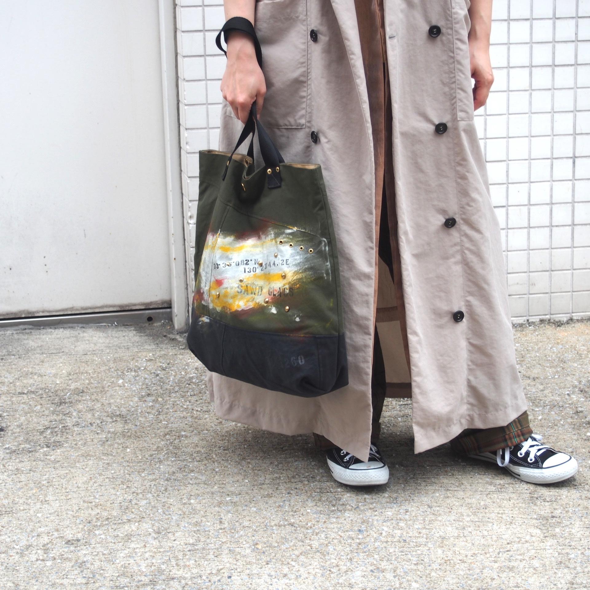 【sandglass】painting tote bag / 【サンドグラス】ペインティング トートバッグ