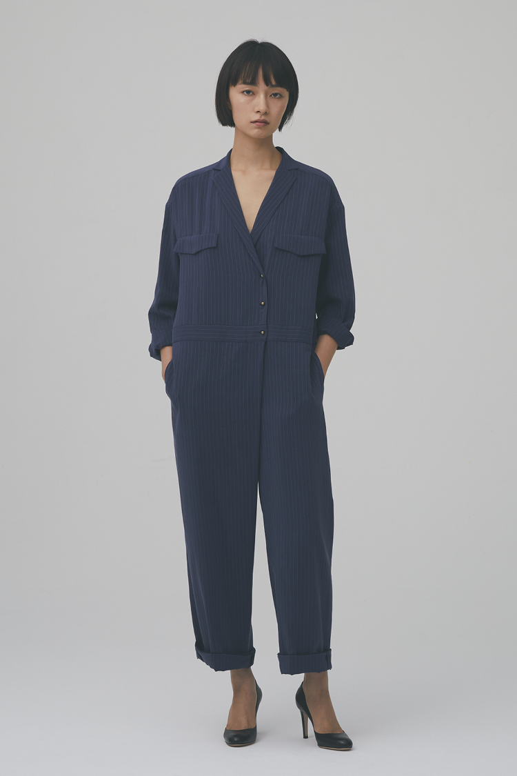 【予約商品】pin-stripe jumpsuit