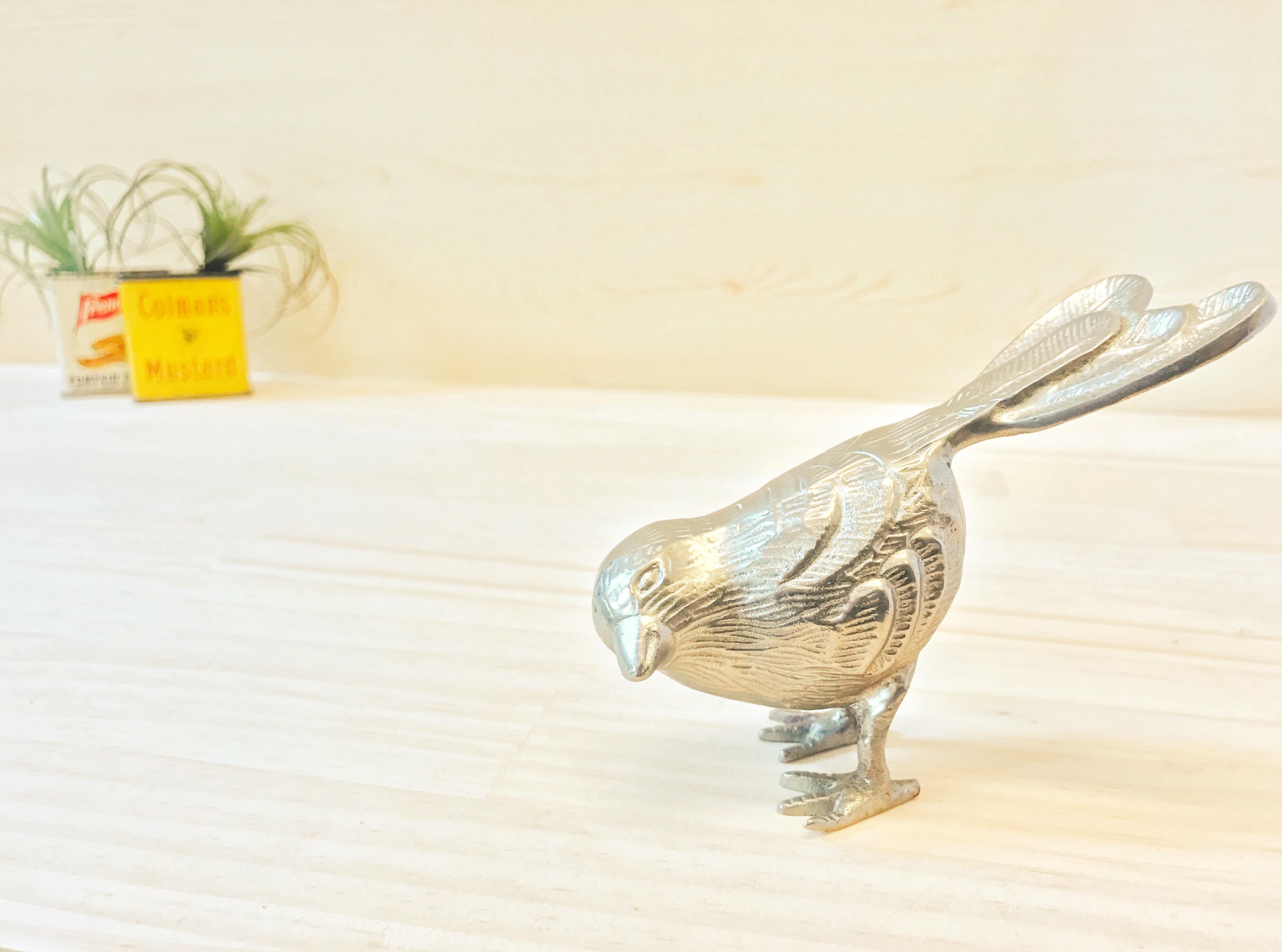 ブラス製 小鳥オブジェ