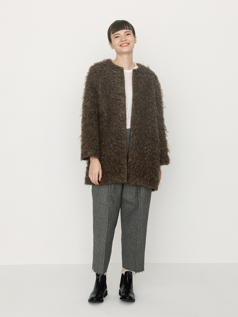 mohair no-collar coat(brown)