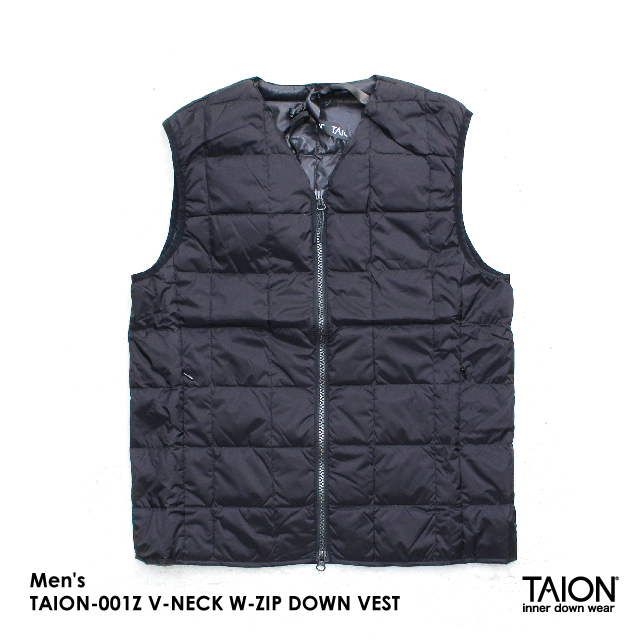 Men's / TAION-001Z V-NECK W-ZIP DOWN VEST / BLACK