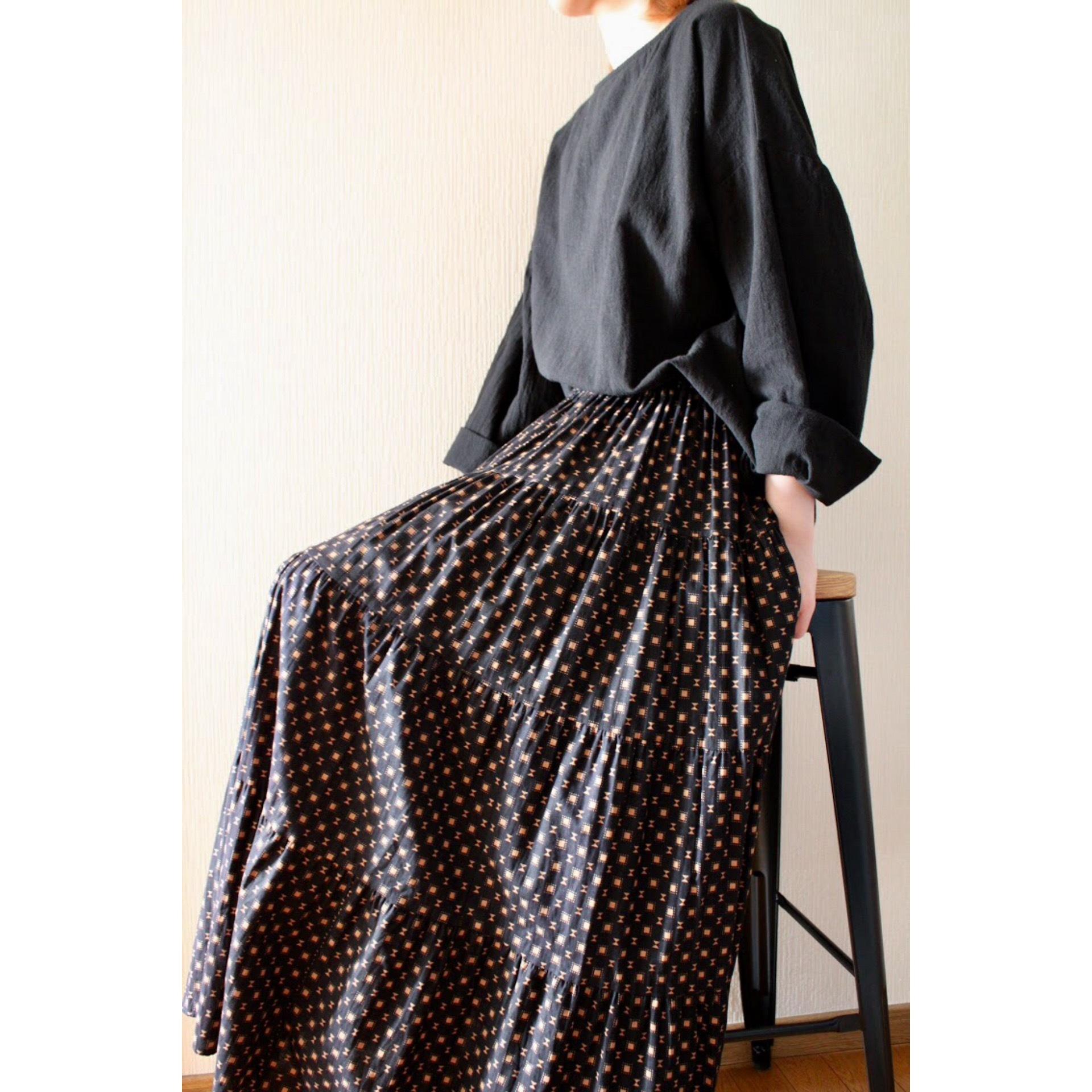 Vintage cotton tiered skirt