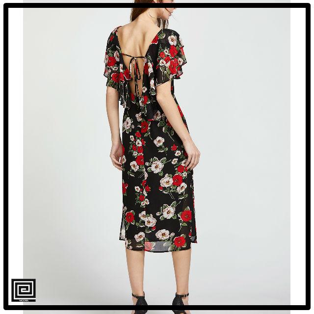 フラワープリントVバックドレス