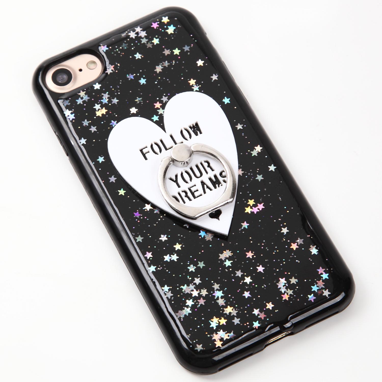 【即納★送料無料】キラキラケースにハートのバンカーリング付iPhoneケース