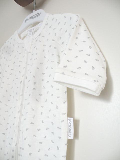 オーガニックコットン 足つき長袖ジップアップロンパース ベビー服 リーフ柄【purebaby】
