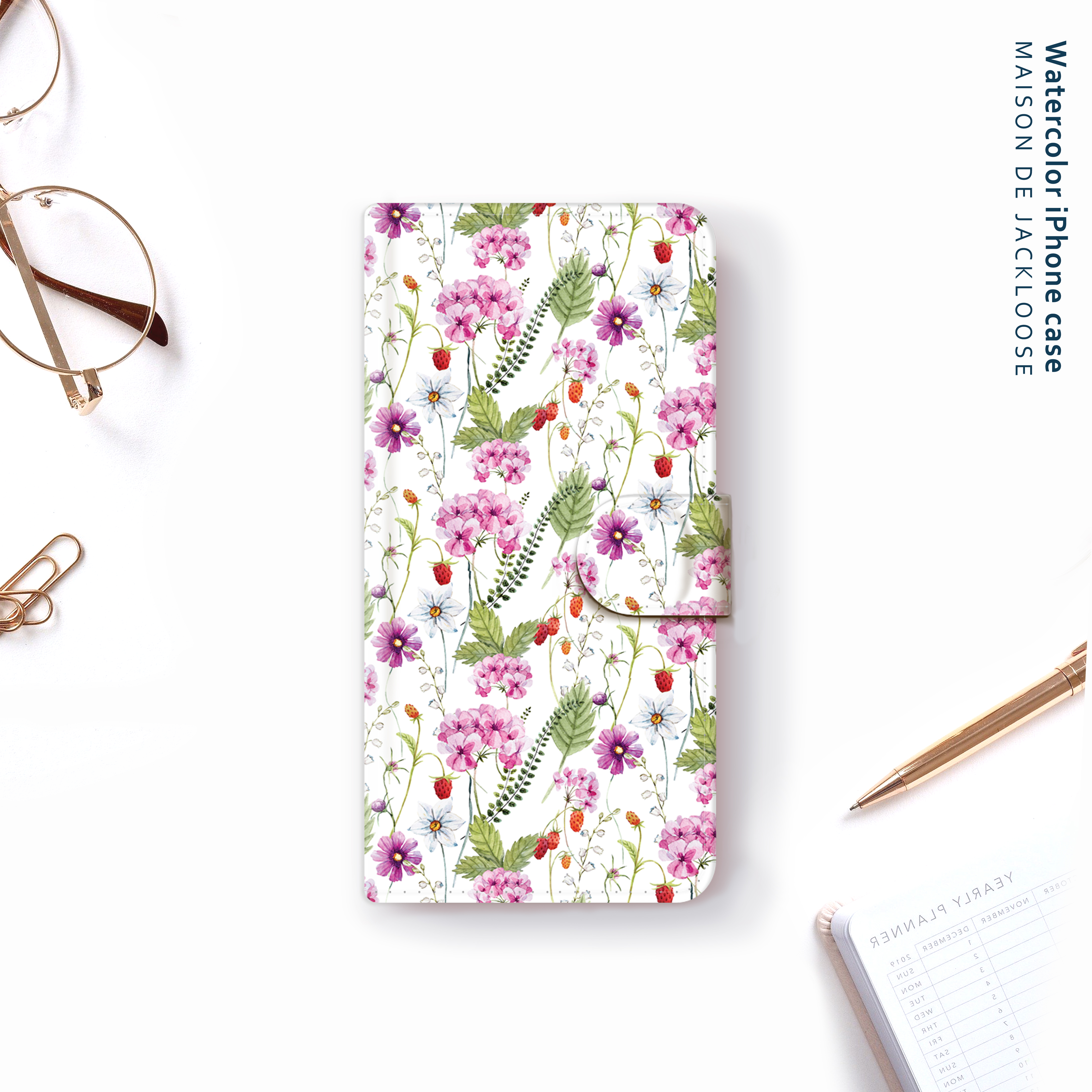 Watercolor strawberry・お名前入れ【iPhone Androidスマホケース・全機種対応 専用カメラホール】
