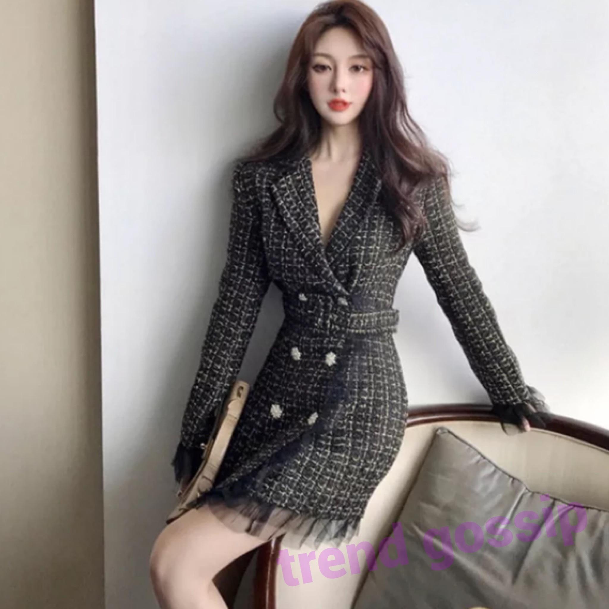 チュールヘムツイードジャケットワンピース/ドレス/2色展開/ワンサイズ/2020SS