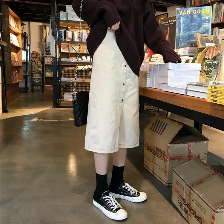 【送料無料】 カジュアルコーデに♡ シンプル デニム フロントボタン ハイウエスト ミモレ丈 スカート