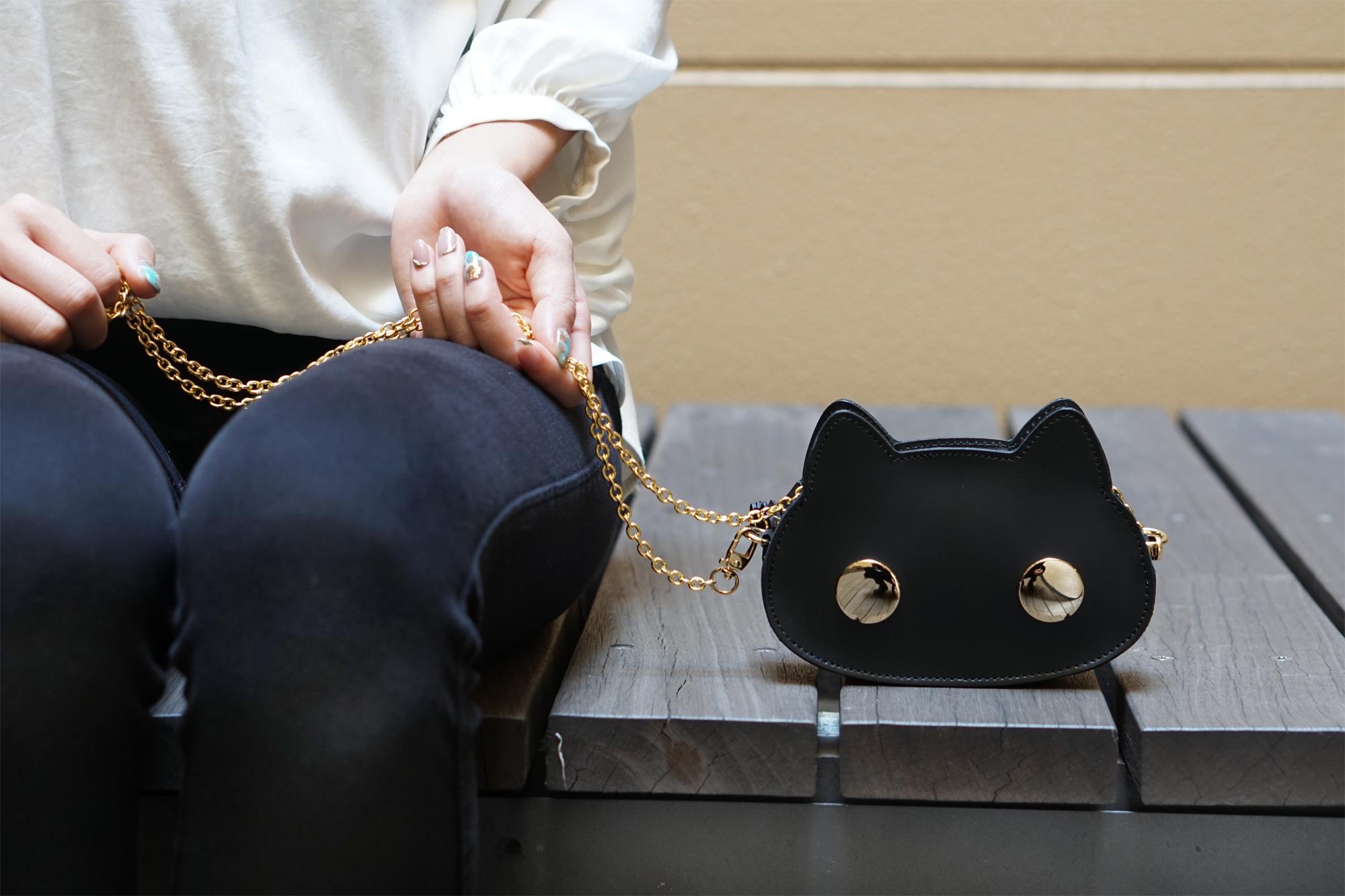 猫連合マイクロバッグ(牛革製)