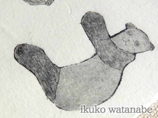 版画カード大 - 寝転ぶパンダ - わたなべいくこ