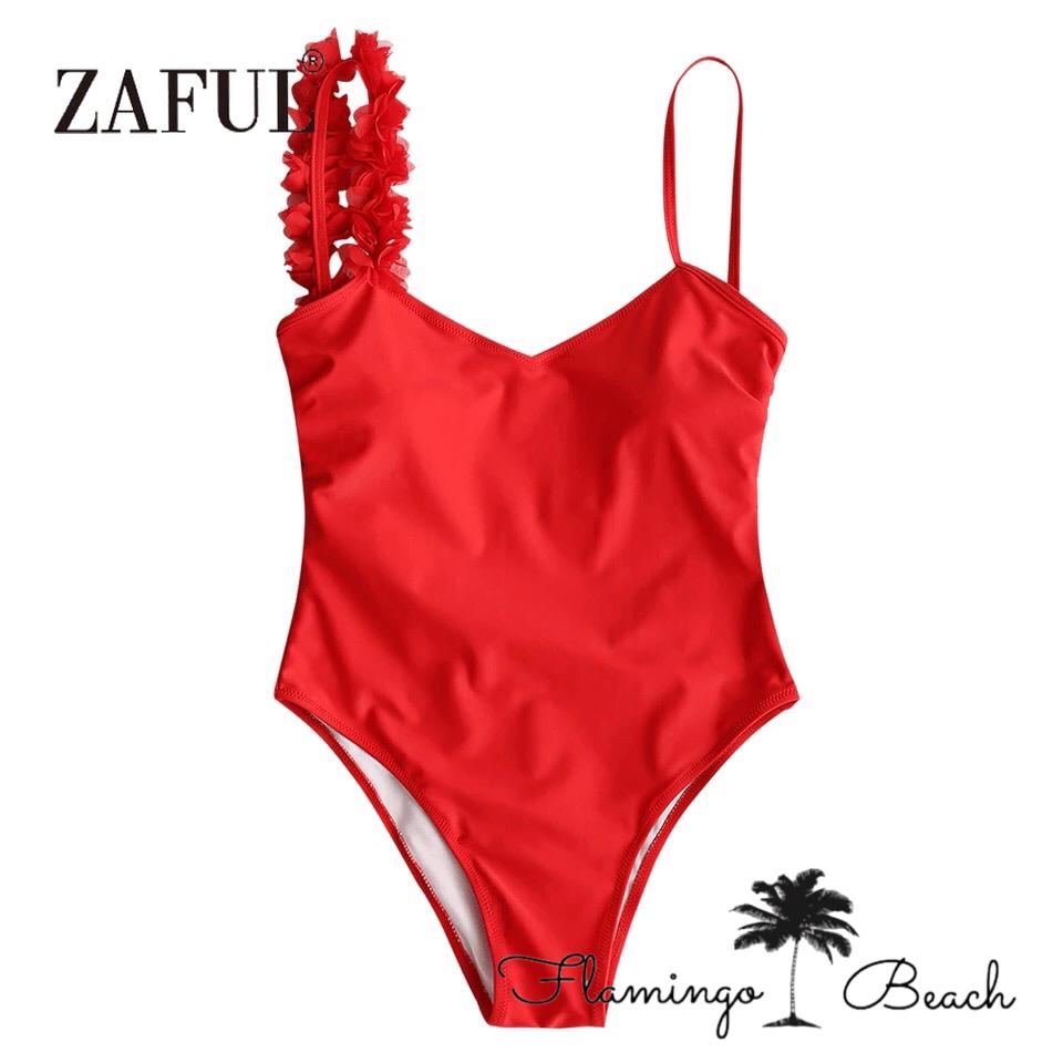 【FlamingoBeach】red flower monokini