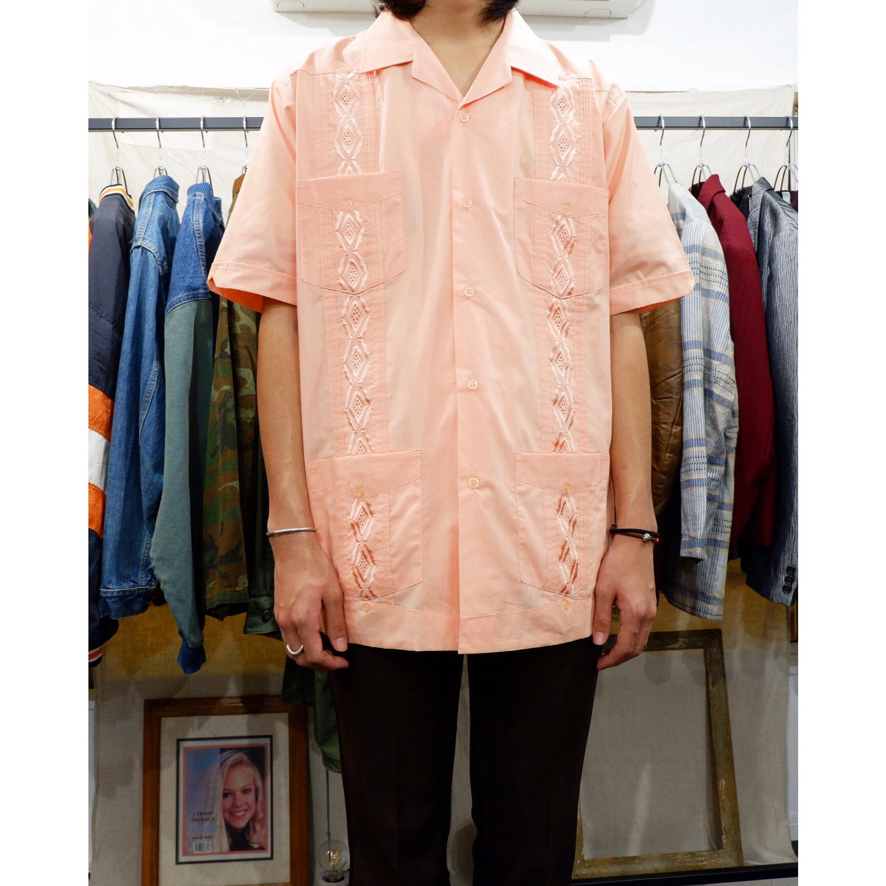 アメリカ古着 vintage サーモンピンク キューバシャツ
