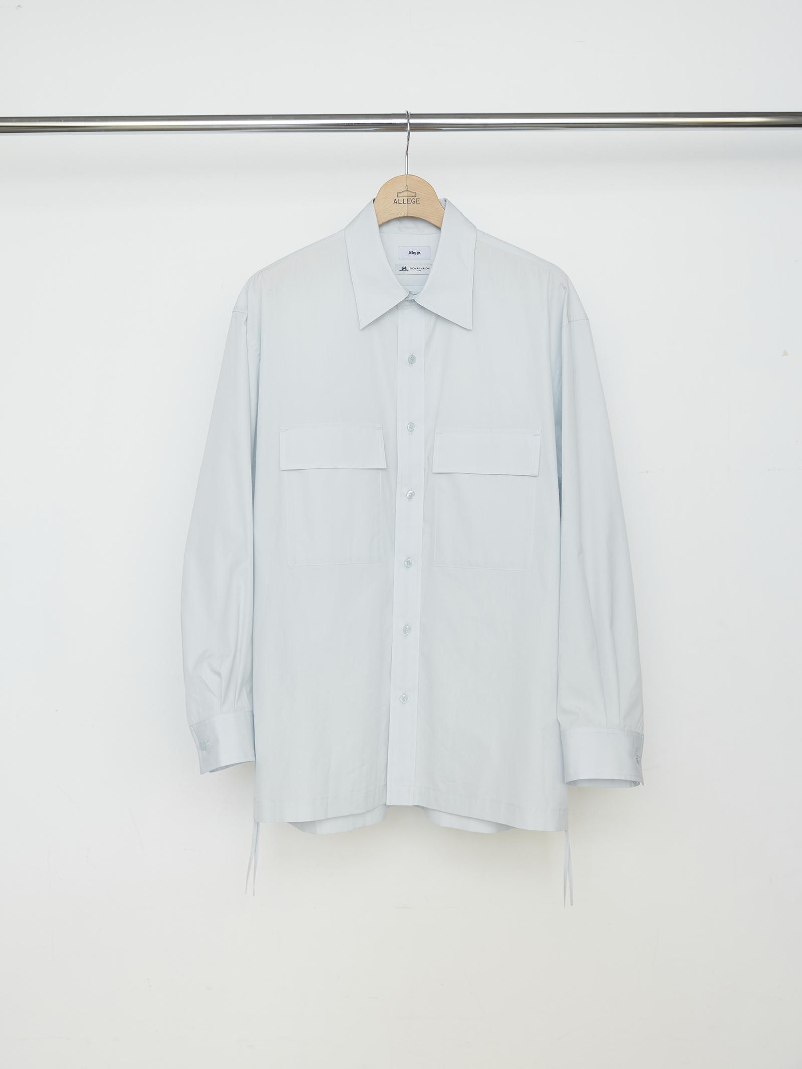 W Pocket Gather Shirt - GRAY