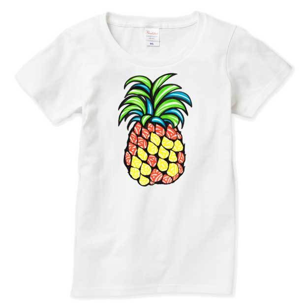 ◆レディスTシャツ◆ ジューシーパイナップル 親子コーデ対応 ホワイト